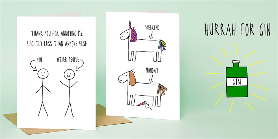 Cath Tate Cards Witty and colourful!